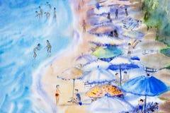 海景绘五颜六色家庭度假和旅游业 免版税库存图片