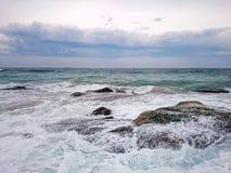海景@卷毛卷毛海滩, NSW澳大利亚 库存图片