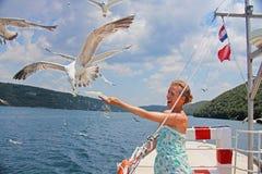 海景 女孩喂养从她的韩的一只海鸥 免版税库存图片
