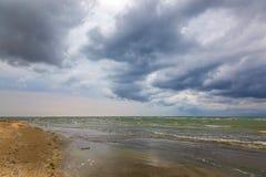 海景 海,与暴风云的天空 图库摄影