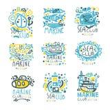 海标签设计的俱乐部集合 游艇俱乐部,航行体育或海洋旅行手拉的五颜六色的传染媒介例证 向量例证