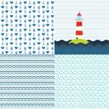 海样式传染媒介集合 免版税库存图片