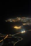 海桥梁航拍在晚上 免版税库存照片
