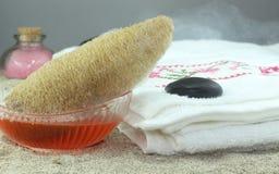 海棉擦洗的沐浴和液体肥皂 免版税库存照片
