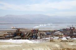 死海植物和蒸发池塘 免版税库存照片
