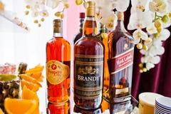 海氏,乌克兰- 2017年8月10日:三个瓶由Pam的酒精 免版税图库摄影