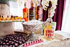 海氏,乌克兰- 2017年8月10日:四个瓶酒精Pampe 图库摄影