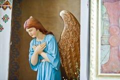 海氏,乌克兰- 2017年8月10日:天使statu的特写镜头照片 免版税库存照片