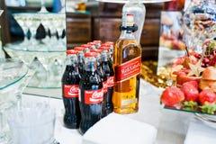 海氏,乌克兰- 2016年10月25日:有红色标签的可口可乐瓶 免版税图库摄影