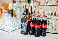 海氏,乌克兰- 2017年8月10日:杰克丹尼尔` s在b的酒精饮料 库存照片