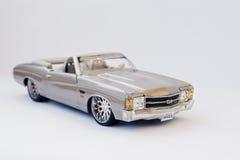 海氏,乌克兰- 2017年3月1日:银色玩具驾驶低底盘汽车兜风者c的微型拷贝 免版税库存照片
