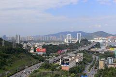 海沧桥梁和桥梁接近, amoy城市,瓷 免版税库存图片