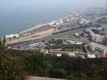 海法以色列看法从山的 免版税库存照片