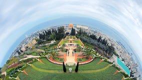 海法和Bahai庭院,以色列Fisheye视图  库存照片