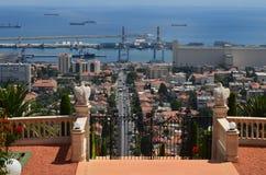 海法港的看法  库存照片