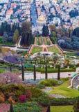 海法鸟瞰图从Bahai庭院的 库存照片