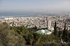 海法,以色列- 2016年12月23日:从迦密山的全景 免版税库存照片