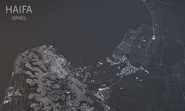 海法,卫星看法,部分3d,以色列 免版税库存图片