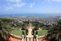 海法,以色列看法从Bahai庭院的 免版税库存图片