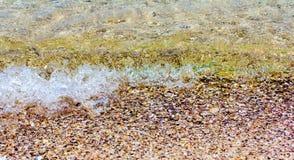海波浪击中了岸 免版税图库摄影