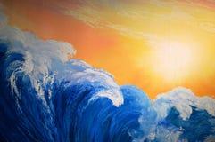 海波浪和橙色天空 免版税库存照片