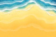 海波浪和沙子海滩 顶视图 皇族释放例证