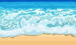 海波浪和沙子海滩 库存例证