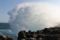 海波浪妖怪神色自然 库存图片