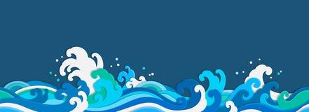 海波浪纸裁减无缝的墙纸 库存例证