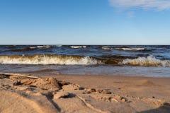 海波浪美好的风景在一个沙滩的岸的 r 库存图片
