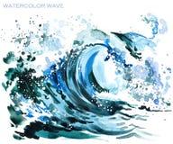 海波浪水彩例证