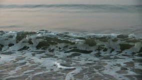 海波浪洗涤在岸的沙子 昏暗的光在晚上 黎明 慢动作 股票录像