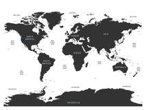 海洋世界地图有海洋、海、海湾、海湾和海峡标签的  皇族释放例证