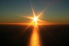 海洋俯视的日落 库存照片