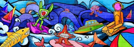 海洋动物五颜六色的油漆墙壁 向量例证