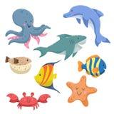 海洋动物动画片集合 时髦设计海和海洋野生生物 章鱼,海豚,鲨鱼,镶边蓝色鱼,河豚,海星和 向量例证