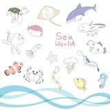 海洋动物字符集 免版税库存图片
