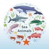 海洋动物导航集合 向量例证