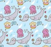海洋动物kawaii背景 向量例证