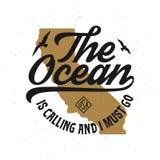 海洋叫,并且我必须去T恤杉设计 r 向量例证