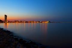 海洋城镇在晚上之前 免版税库存照片
