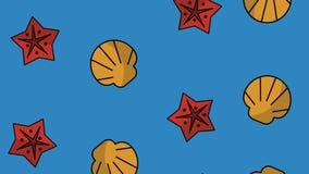 海洋壳和星HD动画 向量例证