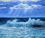 海洋或海波浪 图库摄影