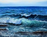 海洋或海波浪 库存照片