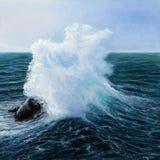 海洋或海波浪 免版税库存图片