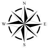 海洋或船舶航海的在被隔绝的白色背景的罗盘和地图作为传染媒介 免版税库存照片