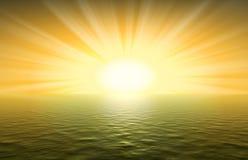 海洋日落黄色 免版税库存照片