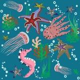 海洋的许多动物 无缝的纹理 向量例证