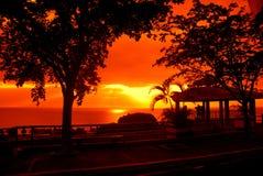 海洋美丽如画的日落 库存照片