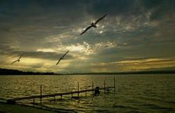 海洋风景日落 免版税图库摄影